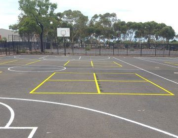 Multiple Use Concrete School Line Court Marking